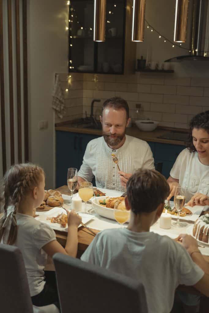 Together for dinner conversation